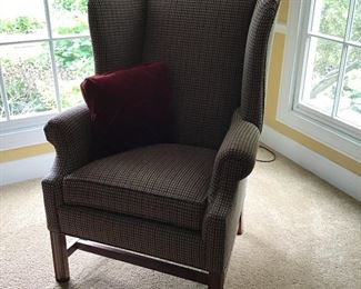 Ethan Allen Wing Back Checkered Chair Blue, Green, Red