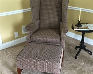 Ethan Allen Checkered Wingback Chair and Ottoman blue, green, red