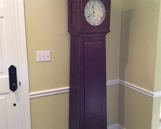 "Ethan Allen 75"" Tall Clock w Key and Shelves"