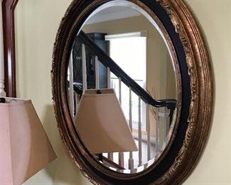 """Round 28"""" Gold Leaf Mirror"""