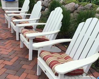 FOUR High Wood Adirondack Chairs with Cushions