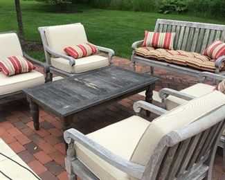 Teak Wood Set - Bench, 4 Chairs and Coffee Table