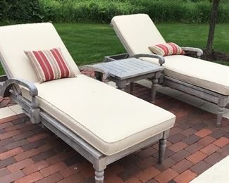 TWO Teak Wood Chaise Lounges and Side Table with Cushions