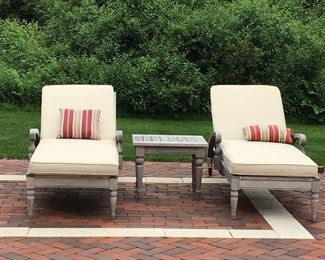Teak Chaise Lounge Chairs and Table