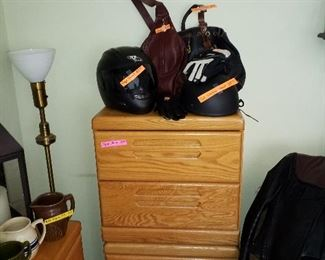 2 night stands, 2 helmets and leather purses