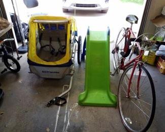 Kids slide, bike and ten speed bike