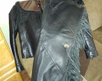 Leather woman jacket and chaps
