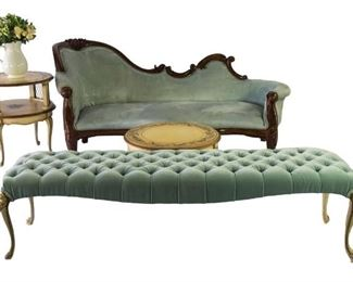 gorgeous blue settee and reupholstered French provincial bench