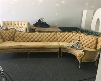Large tufted French provincial sectional sofa- great project piece!
