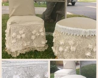 beautiful slipcovered  chair and ottoman made with vintage lace and petticoats