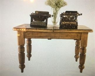 vintage primitive table with vintage typewriters