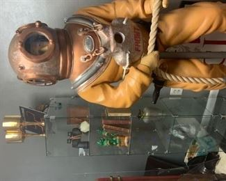 6 foot tall vintage deep sea diver  & frameless glass display case
