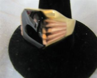 gold and onyx men's ring