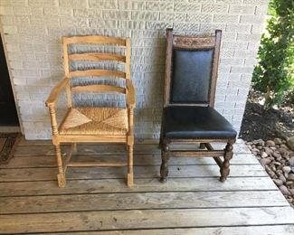 Unfinished chair with rush seat- great DIY project Black leather chair with carving