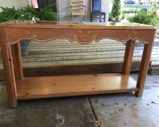 Pine sofa table with glass top- also have matching end table and coffee table