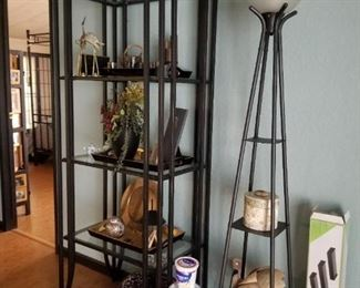 """Two of these metal and glass shelving units, approx. 3'w x 10""""d x 6't.  Three of these torchiere lights."""