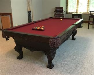 OLHAUSEN Solid TulipWood Pool Table w/Antique Cherry Finish