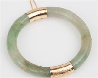 2: Jadeite Jade Carved 14K Gold Bangle Bracelet