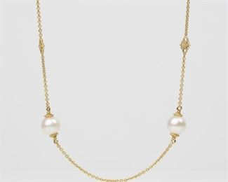 "4: 18K Judith Ripka Pearl & Diamond Station 34"" Necklace"