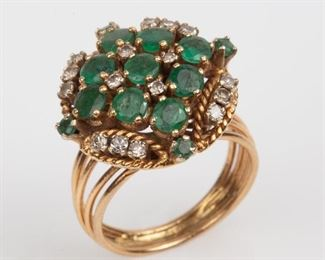 5: 14K Emerald Diamond Cocktail Ring 5.0dwt