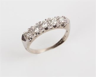 6: 14K Diamond Inline Anniversary Ring with 5 Diamonds