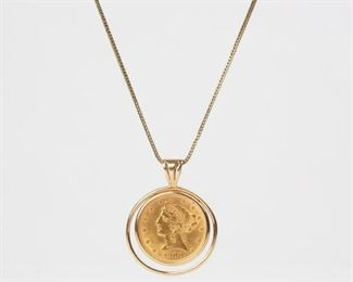 7: 1900 Liberty 5 Dollar Gold Coin Pendant, 14K Necklace