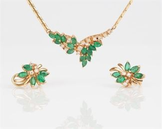 8: 14K Emerald Diamond Necklace & Earring Set