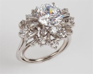9: Platinum 2.9ctw Diamond & CZ Large Cocktail Ring