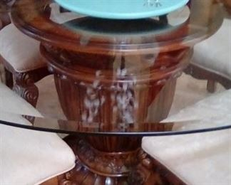 Beautiful wood pedestal  and glass breakfast table with 6 chairs