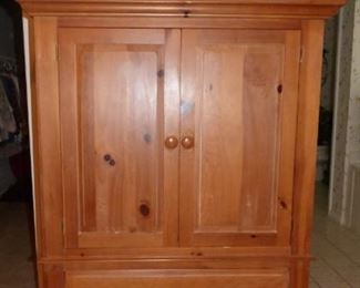 Broyhill Pine Armoire, Large Moose Statue