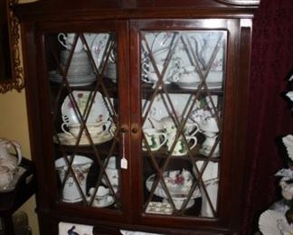 China cabinet in the dining room.  Our client says this belongs to Richard's parents, who got it when they married around 1900.