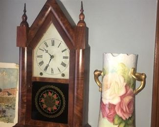 Shelf clock, hand painted porcelain