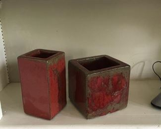 Ceramic red vases