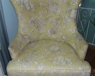 Green & White Upholstered Wingback Style Accent Chair (Homegoods)