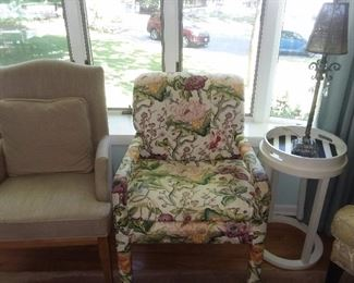 Colorful Floral Upholstered Chair On Wheels