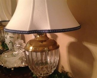 One of two matching lamps with custom trim shades