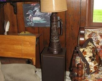 1 of a pair of lamps and 1 of a pair of speakers