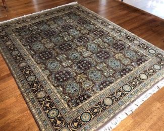 Hand Knotted Oriental Rug  10x14 Blue Black Red  Floral All Over Medallion