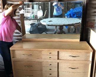 Mid century dresser and mirror.