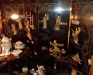 Asian screen/room divider with inlaid stone