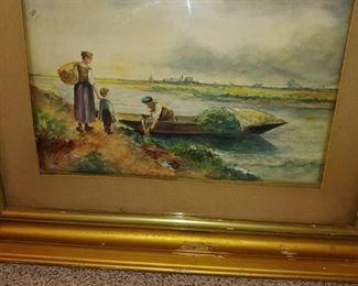 Beautifully detailed water color painting of family fishing