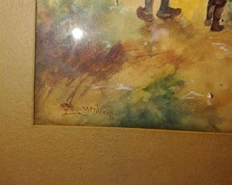 Signature on watercolor of family fishing