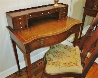 Flame Mahogany Writing Desk w/ Leather Top; Antique Queen Anne Inlaid Splat-Back Side Chair