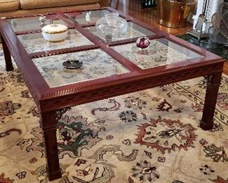 Large Glass-Paned Chinese-Chippendale Mahogany Coffee Table