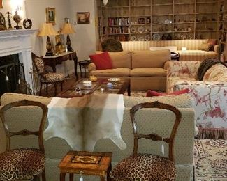 Brocade Sleeper Sofa w/ Fringe; Pair of Silk Loveseats; Large Chinese Chippendale Glass-Pane Coffee Table; Persian-Style Rug