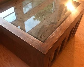 cork coffee table display under glass top