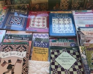 number of Quilting Books & related items including a pattern layout cutting table