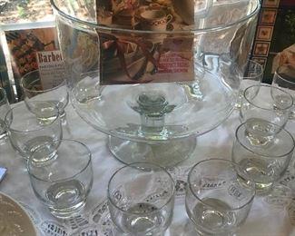 vintage W Virginia Glass Co Punch Bowl set modernistic