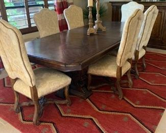Dining table and chairs, beautiful rug