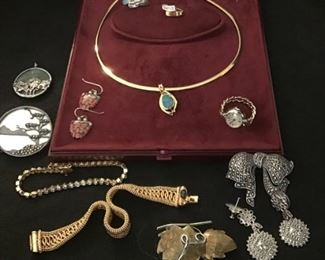 Gold and Sterling jewelry. Small finger watch and other watches not yet shown.